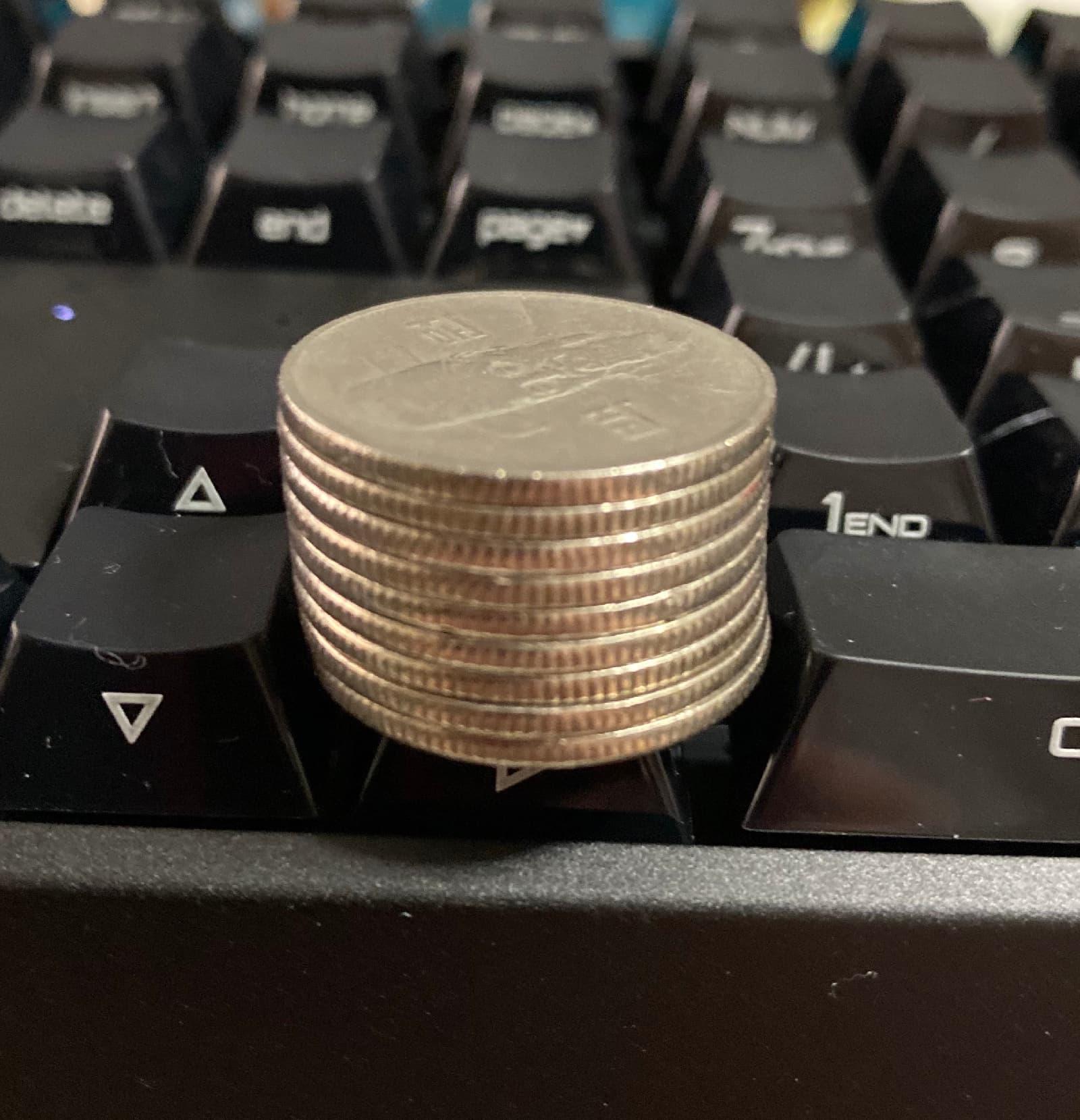 체리 MX 보드 3.0S 키보드 100원 동전 키압 테스트